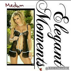 MEDIUM black babydoll & matching thong